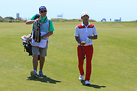 Eunshin Park (KOR) and Kenneth Quillinan (caddy) on the 8th fairway during Round 3 of the Rocco Forte Sicilian Open 2018 played at Verdura Resort, Agrigento, Sicily, Italy on Saturday 12th May 2018.<br /> Picture:  Thos Caffrey / www.golffile.ie<br /> <br /> All photo usage must carry mandatory copyright credit (&copy; Golffile | Thos Caffrey)