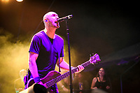 Aaron Bruch , Bass with Breaking Benjamin performs at Fivepoint Amphitheater in Irvine Ca. on September 16th, 2016