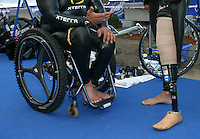08 MAY 2004 - FUNCHAL, MADEIRA - Jeremy Newman and Mabio Costa prepare for the start of the World AWAD Triathlon Championships. (PHOTO (C) NIGEL FARROW)