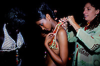 Dorina, on right, an italian designer, producer of the bathing suits worn by the contenders for the crown styles a girl during the 2009 MIss Ethiopia beauty pageant held at the Intercontinental Hotel in Ethiopia's Capital Addis Ababa on Sunday January 18 2009.