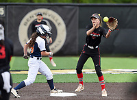 NWA Democrat-Gazette/CHARLIE KAIJO Rogers Heritage High School Kyliee Germann (16) runs to second as Northside High School Danessa Teague (4) makes a catch during the 6A State Softball Tournament, Thursday, May 9, 2019 at Tiger Athletic Complex at Bentonville High School in Bentonville. Rogers Heritage High School lost to Northside High School 8-6