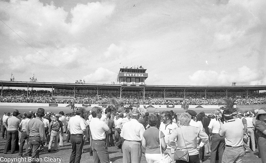grid pre race cars lined up fans before Daytona 500 at Daytona International Speedway in Daytona Beach, FL on February  1984. (Photo by Brian Cleary/www.bcpix.com)