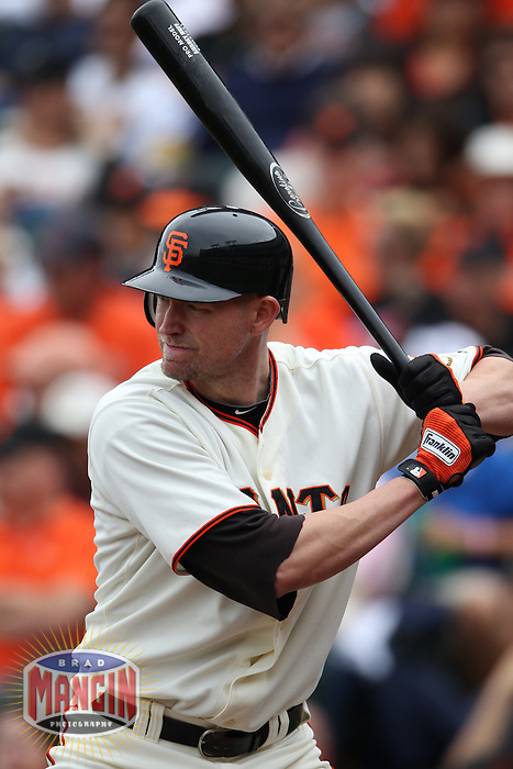 SAN FRANCISCO - SEPTEMBER 19:  Aubrey Huff #17 of the San Francisco Giants bats against the Milwaukee Brewers during the game at AT&T Park on September 19, 2010 in San Francisco, California. Photo by Brad Mangin