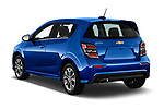 Car pictures of rear three quarter view of a 2019 Chevrolet Sonic LT RS Select Doors Door Hatchback angular rear