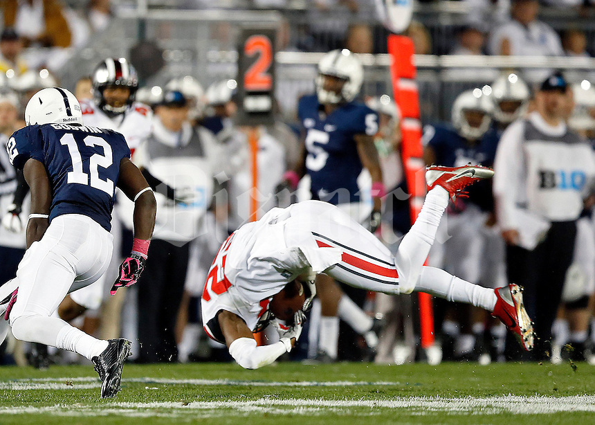 Ohio State Buckeyes safety Tyvis Powell (23) intercepts a pass intended for Penn State Nittany Lions wide receiver Chris Godwin (12) during the 3rd quarter of the NCAA Division I football game at Beaver Stadium in University Park, PA on October 25, 2014. (Columbus Dispatch photo by Jonathan Quilter)
