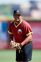 Quad Cities River Bandits pitcher Abdiel Saldana (13) doing pitching drills before a game against the Lake County Captains on May 6, 2017 at Modern Woodmen Park in Davenport, Iowa.  Lake County defeated Quad Cities 13-3.  (Mike Janes/Four Seam Images)