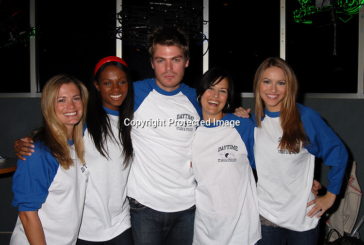 """Melissa Eagan, Tika Sumpter, Sydney Penny and Chrishell..Stause with Jeff Branson ..at The """"Daytime Stars and Strikes"""" Bowling event on ..October 15, 2006 at The Leisure Time Bowling Center..at The Port Authority which benefitted The American Cancer Society. ..Robin Platzer, Twin Images"""