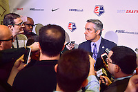 Los Angeles, CA - Thursday January 12, 2017: NWSL Commissioner Jeff Plush, press, media during the 2017 NWSL College Draft at JW Marriott Hotel.