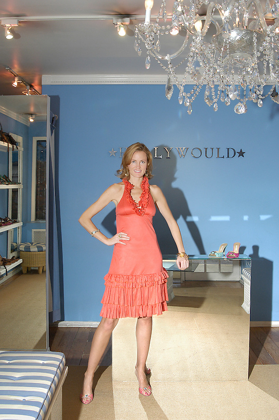 designer Holly Dunlap at her New York City store Hollywould, 2004