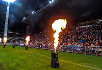 Pyrotechnics flare during the Rugby Championship match between the NZ All Blacks and Argentina Pumas at Yarrow Stadium in New Plymouth, New Zealand on Saturday, 9 September 2017. Photo: Dave Lintott / lintottphoto.co.nz