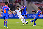Komail Hasan Alaswad of Bahrain (L) fights for the ball with Pronay Halder of India (R) during the AFC Asian Cup UAE 2019 Group A match between India (IND) and Bahrain (BHR) at Sharjah Stadium on 14 January 2019 in Sharjah, United Arab Emirates. Photo by Marcio Rodrigo Machado / Power Sport Images