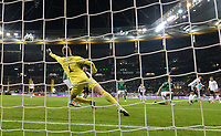 19th November 2019, Frankfurt, Germany; 2020 European Championships qualification, Germany versus Northern Ireland;  Serge Gnabry  Germany scores the goal for 1-1 against goalkeeper Bailey Peacock Farrell Northern Ireland
