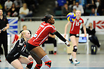 Rüsselsheim, Germany, April 13: Dominique Lamb #2 of the Rote Raben Vilsbiburg vies during play off Game 1 in the best of three series in the semifinal of the DVL (Deutsche Volleyball-Bundesliga Damen) season 2013/2014 between the VC Wiesbaden and the Rote Raben Vilsbiburg on April 13, 2014 at Grosssporthalle in Rüsselsheim, Germany. Final score 0:3 (Photo by Dirk Markgraf / www.265-images.com) *** Local caption ***