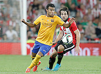 Athletic de Bilbao's Benat Etxebarria (r) and FC Barcelona's Rafinha during Supercup of Spain 1st match.August 14,2015. (ALTERPHOTOS/Acero)