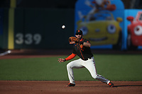 SAN FRANCISCO, CA - AUGUST 27:  Evan Longoria #10 of the San Francisco Giants catches a line drive at third base against the Los Angeles Dodgers during game two of a doubleheader at Oracle Park on Thursday, August 27, 2020 in San Francisco, California. (Photo by Brad Mangin)