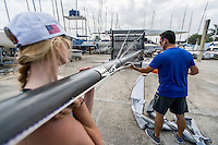 AR_07302016_RIO_HOUSTON_0130.ARW  © Amory Ross / US Sailing Team.  HOUSTON - TEXAS- USA. July 30, 2016. The US Sailing Team moves their boats and equipment from Niteroi, the training center for the past three years, across Guanabara Bay to the new Olympic sailing venue in Rio de Janeiro.