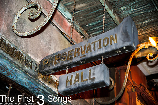 The Preservation Hall Jazz Band performs at Preservation Hall in New Orleans, LA.