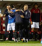 Pedro Caixinha celebrates with goalscorer Daniel Candeias