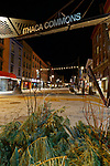 Night view of Ithaca Commons, Ithaca, New York, USA