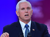 National Harbor, MD - March 1, 2019: U.S. Vice President Mike Pence addresses the annual Conservative Political Action Conference (CPAC) held at the Gaylord National Resort at National Harbor, MD March 1, 2019.  (Photo by Don Baxter/Media Images International)