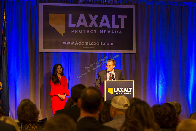 Adam Laxalt gives his concession speech at the Grand Sierra Resort in Reno, Nev., Tuesday, Nov. 6, 2018. (AP Photo/Tom R. Smedes)