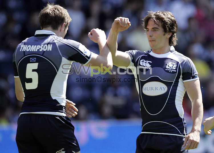 PICTURE BY VAUGHN RIDLEY/SWPIX.COM - Rugby Union - Edinburgh Sevens 2008 - Murrayfield, Edinburgh, Scotland - 31/05/08...Copyright - Simon Wilkinson - 07811267706..Scotland's Colin Gregor celebrates with Jim Thompson.