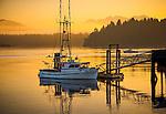 Tofino, British Columbia: Fishing boat at dawn on Tofino harbor on Vancouver Island, Canada