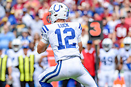 Landover, MD - September 16, 2018: Indianapolis Colts quarterback Andrew Luck (12) drops back to pass during game between the Indianapolis Colts and the Washington Redskins at FedEx Field in Landover, MD. The Colts defeated the Redskins 21-9.(Photo by Phillip Peters/Media Images International)