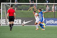 Boston, MA - Friday August 04, 2017: Desiree Scott and Katie Stengel during a regular season National Women's Soccer League (NWSL) match between the Boston Breakers and FC Kansas City at Jordan Field.