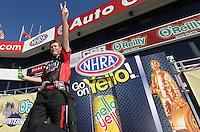 Feb. 17, 2013; Pomona, CA, USA; NHRA top fuel dragster driver David Grubnic during the Winternationals at Auto Club Raceway at Pomona. Mandatory Credit: Mark J. Rebilas-