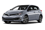 Stock pictures of low aggressive front three quarter view of a 2018 Toyota Auris Hybrid Black Edition 5 Door Hatchback