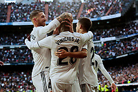 Real Madrid's (L-R) Sergio Ramos, Vinicius Jr. and Sergio Reguilon celebrate goal during La Liga match between Real Madrid and Real Valladolid at Santiago Bernabeu Stadium in Madrid, Spain. November 03, 2018. (ALTERPHOTOS/A. Perez Meca)<br /> Liga Campionato Spagna 2018/2019<br /> Foto Alterphotos / Insidefoto <br /> ITALY ONLY