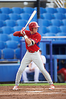 GCL Phillies shortstop Cole Stobbe (7) at bat during the first game of a doubleheader against the GCL Blue Jays on August 15, 2016 at Florida Auto Exchange Stadium in Dunedin, Florida.  GCL Phillies defeated the GCL Blue Jays 7-5 in a completion of a game started on July 30th.  (Mike Janes/Four Seam Images)
