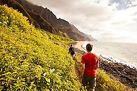 Hiking into Kalalau Valley, north shore of Kauai