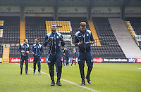 Aaron Pierre of Wycombe Wanderers and Goalkeeper Jamal Blackman of Wycombe Wanderers arrive before the Sky Bet League 2 match between Notts County and Wycombe Wanderers at Meadow Lane, Nottingham, England on 10 December 2016. Photo by Andy Rowland.