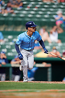 Tampa Bay Rays pinch hitter Andrew Velazquez (11) starts up the first base line during a Grapefruit League Spring Training game against the Baltimore Orioles on March 1, 2019 at Ed Smith Stadium in Sarasota, Florida.  Rays defeated the Orioles 10-5.  (Mike Janes/Four Seam Images)