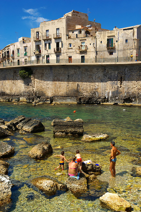 Town houses  and sea wall, Syracuse ( Siracusa) , Sicily