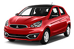 2019 Mitsubishi Space Star Black Collection 5 Door Hatchback angular front stock photos of front three quarter view