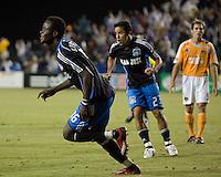 San Jose Earthquakes' Kei Kamara celebrates his goal against the Houston Dynamo at Buck Shaw Stadium in Santa Clara, Calif., Thursday, May 22, 2008. The Earthquakes won 2-1.