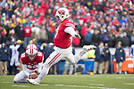 Wisconsin Badgers kicker Rafael Gaglianone (27) kicks a field goal during an NCAA College Big Ten Conference football game against the Michigan Wolverines Saturday, November 18, 2017, in Madison, Wis. The Badgers won 24-10. (Photo by David Stluka)