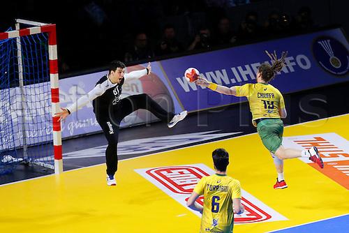 January 19th 2017; Nantes, France, IHF World handball Championships, Russia versus Brazil;  Victor Kireev (Rus) shoots against Fabio Chiuffa (Bra)