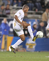 Darlington Naqbe #6 of the University of Akron pulls in a high ball during the 2010 College Cup semi-final against the University of Michigan at Harder Stadium, on December 10 2010, in Santa Barbara, California. Akron won 2-1.