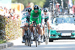 Peter Sagan (SVK) wearing the Green Jersey leads Bora-Hansgrohe during Stage 2 of the 2019 Tour de France a Team Time Trial running 27.6km from Bruxelles Palais Royal to Brussel Atomium, Belgium. 7th July 2019.<br /> Picture: Colin Flockton | Cyclefile<br /> All photos usage must carry mandatory copyright credit (© Cyclefile | Colin Flockton)