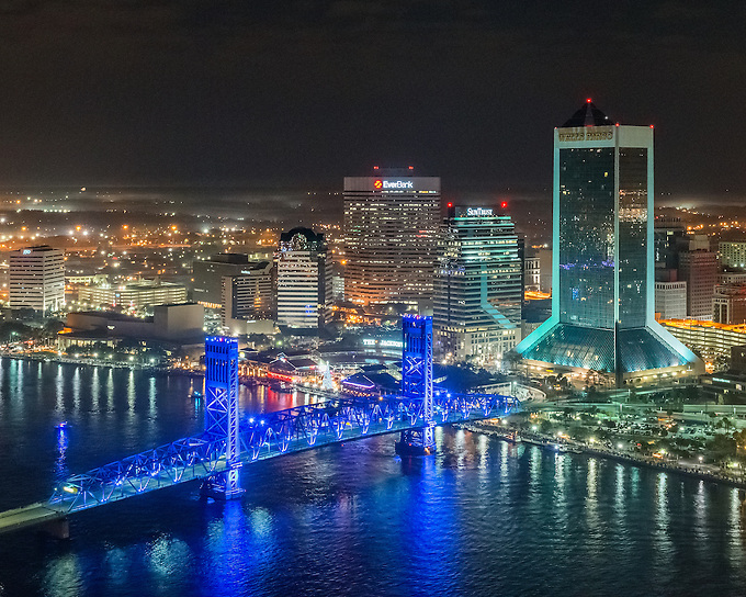 The iconic skyline of Jacksonville at night.<br />