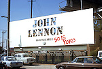 John Lennon billboard with grafitti on the Sunset Strip in Los Angeles, California circa 1971