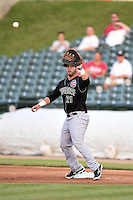 Kane County Cougars catcher Ben Carhart (21) waits for a throw during a game against the Peoria Chiefs on June 2, 2014 at Dozer Park in Peoria, Illinois.  Peoria defeated Kane County 5-3.  (Mike Janes/Four Seam Images)