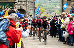 Team Ineos on the front of the peloton during Stage 4 of the 2019 Tour de Yorkshire, running 175km from Halifax to Leeds, Yorkshire, England. 5th May 2019.<br /> Picture: ASO/SWPix | Cyclefile<br /> <br /> All photos usage must carry mandatory copyright credit (© Cyclefile | ASO/SWPix)
