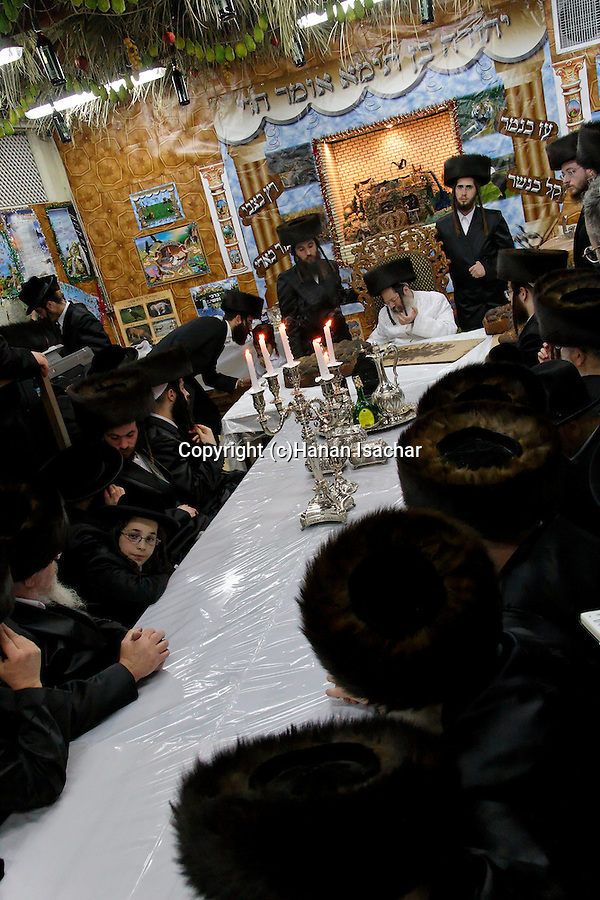 Israel, Bnei Brak. Succot holiday at the Premishlan congregation. A Tish with the Rebbe (a gathering of the Hasidim with their Rebbe)<br />