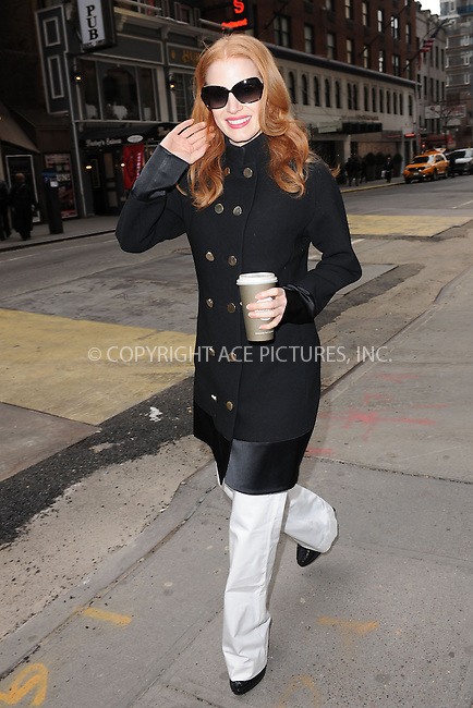 WWW.ACEPIXS.COM . . . . . .January 19, 2013...New York City....Jessica Chastain at The Walter Kerr Theater for a performance of 'The Heiress' on January 19, 2013 in New York City ....Please byline: KRISTIN CALLAHAN - ACEPIXS.COM.. . . . . . ..Ace Pictures, Inc: ..tel: (212) 243 8787 or (646) 769 0430..e-mail: info@acepixs.com..web: http://www.acepixs.com .