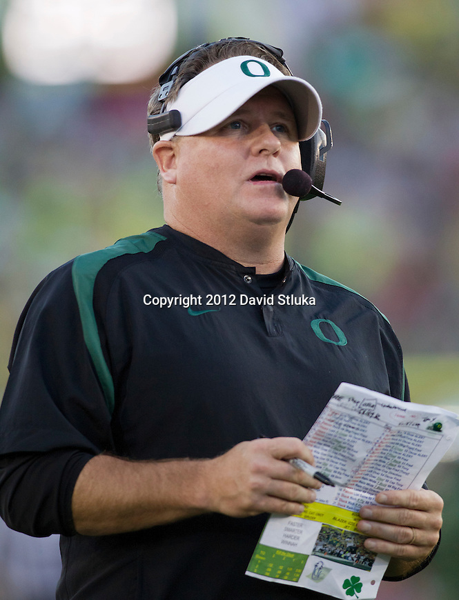 Oregon Ducks Head Coach Chip Kelly looks on during the 2012 Rose Bowl NCAA football game against the Wisconsin Badgers in Pasadena, California on January 2, 2012. The Ducks won 45-38. (Photo by David Stluka)
